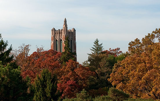 Distant shot of the MSU Beaumont tower in the fall